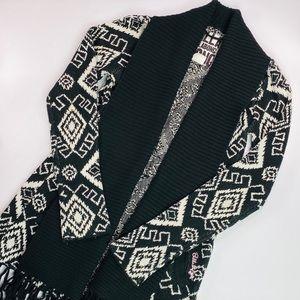 Billabong Cardigan Sweater Black White Long Sleeve